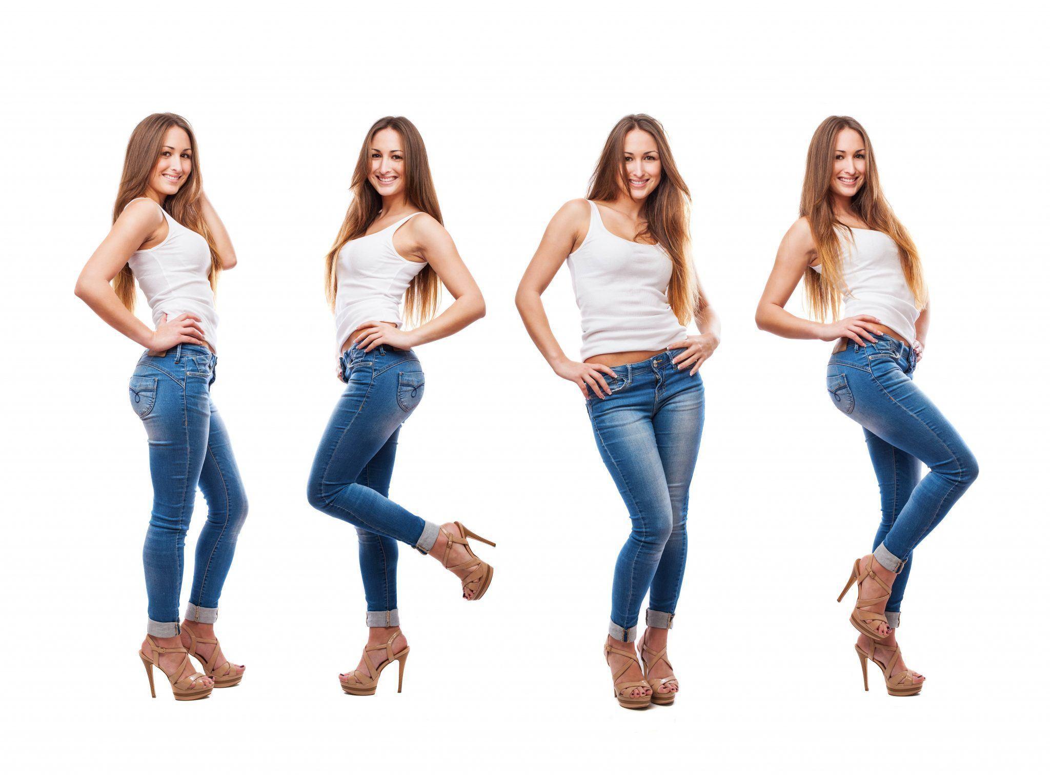 Imagine cu mai multe ipostaze in care o femeie tanara poarta blugi