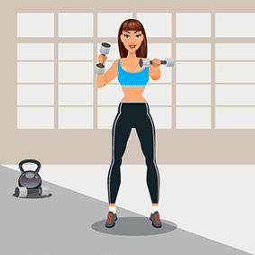 Animatie femeie la antrenament fitness
