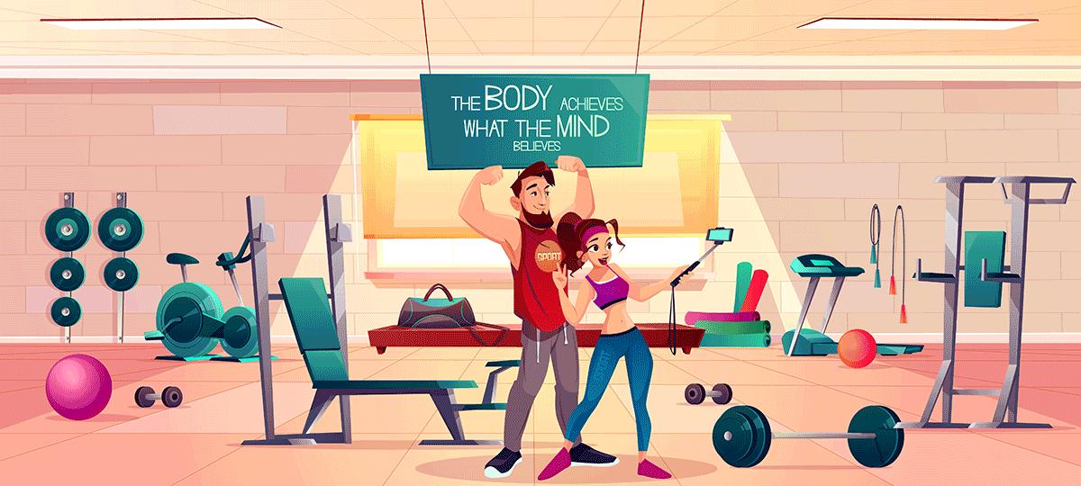 ilustratie prezentand clienti intr-o sala de fitness