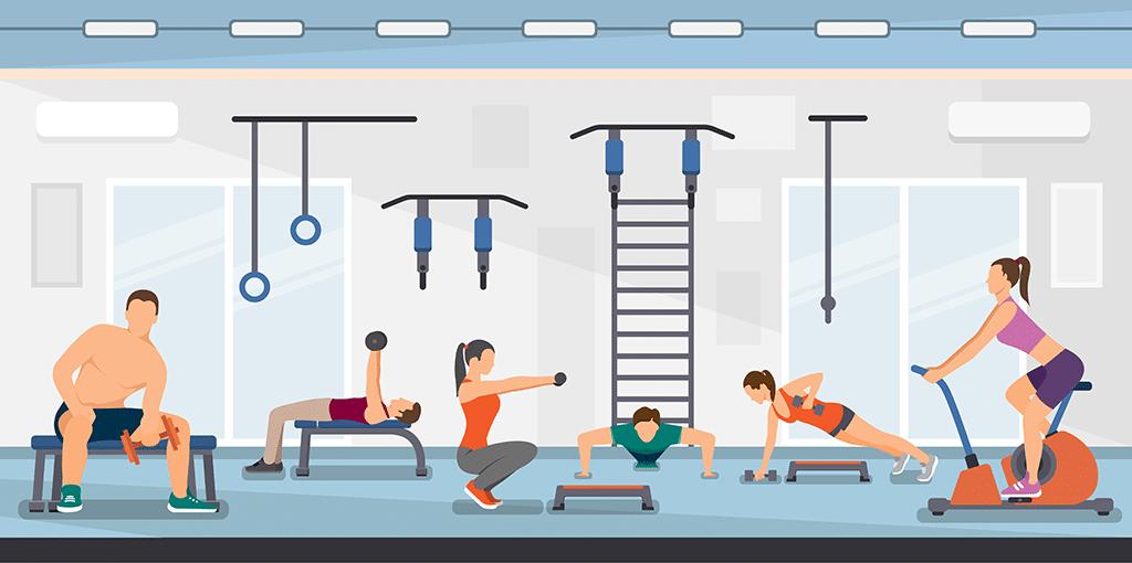 ilustratie prezentand oameni antrenandu-se in sala de fitness