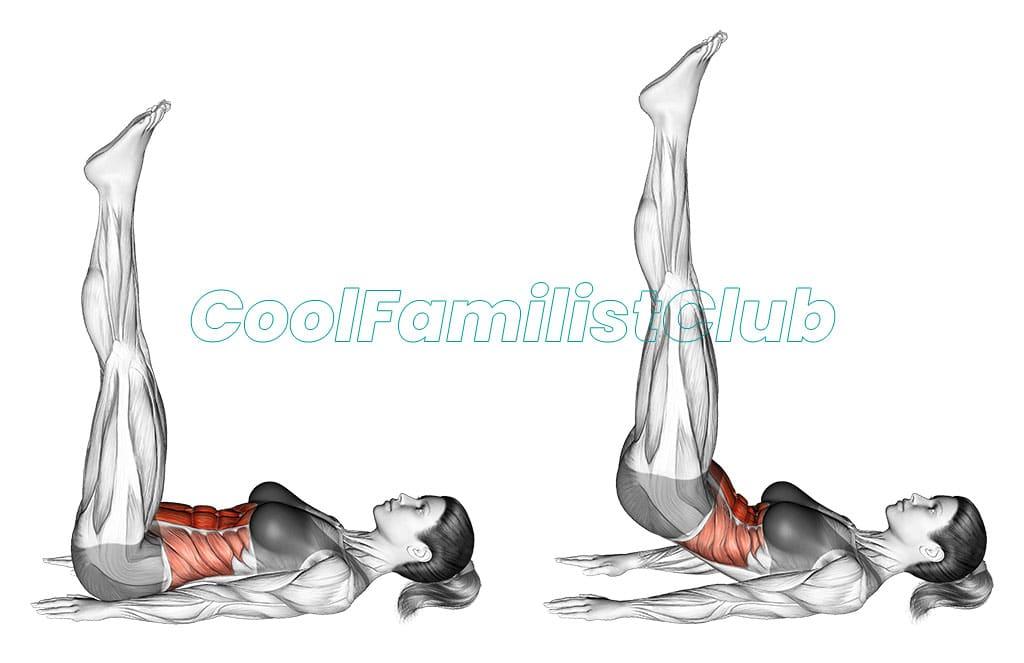 Exercitiu pentru abdomen: Ridicari de soduri cu picioarele la verticala