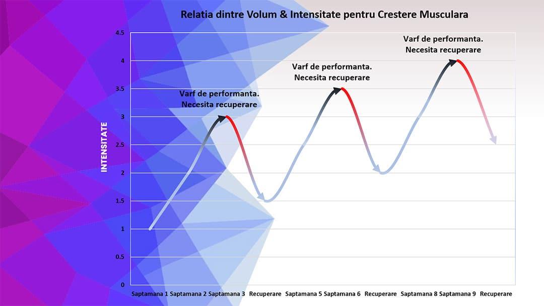 Reprezentare grafica a volumului de antrenament versus intensitatea exercitiilor pentru crestere in masa musculara